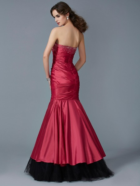 Trumpet/Mermaid Taffeta Net Strapless Floor-Length Beading Sleeveless Dresses