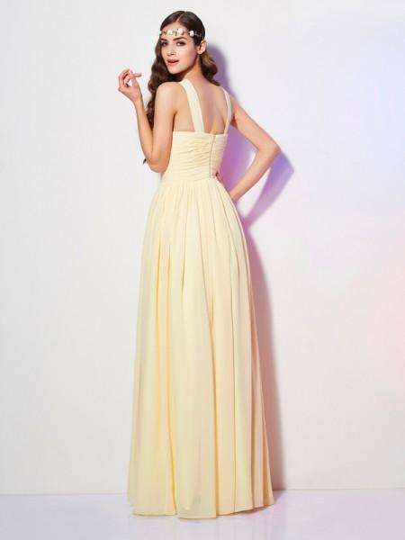 A-Line/Princess Chiffon Bateau Floor-Length Pleats Sleeveless Dresses