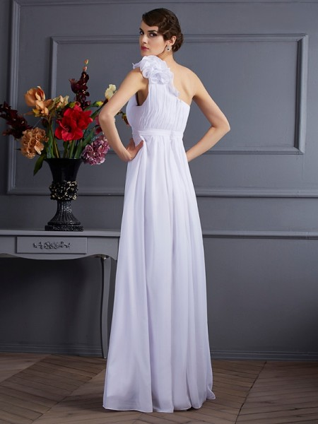 A-Line/Princess Chiffon One-Shoulder Floor-Length Pleats Applique Sleeveless Dresses