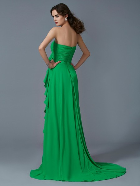 A-Line/Princess Chiffon Sweetheart Sweep/Brush Train Ruffles Sleeveless Dresses