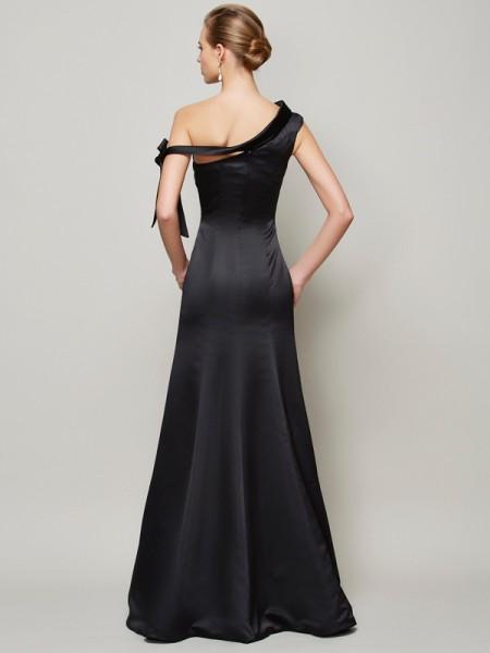 Trumpet/Mermaid Satin One-Shoulder Floor-Length Bowknot Sleeveless Dresses