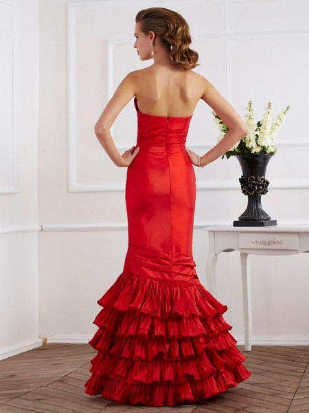 Trumpet/Mermaid Taffeta Sweetheart Floor-Length Ruffles Sleeveless Dresses