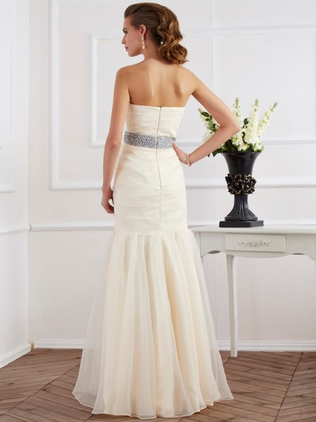 Trumpet/Mermaid Organza Strapless Floor-Length Sash/Ribbon/Belt Sleeveless Dresses