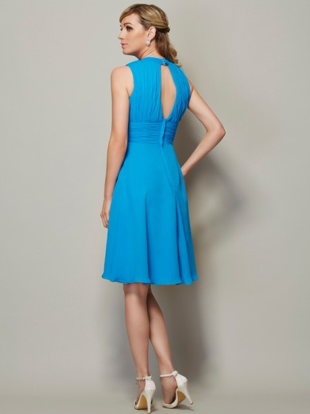 A-Line/Princess Chiffon High Neck Knee-Length Pleats Sleeveless Bridesmaid Dresses