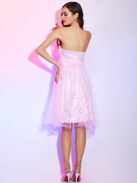 A-Line/Princess Net Satin Strapless Knee-Length Hand-Made Flower Sleeveless Dresses