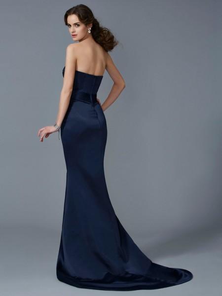 Trumpet/Mermaid Satin Strapless Sweep/Brush Train Beading Sleeveless Dresses