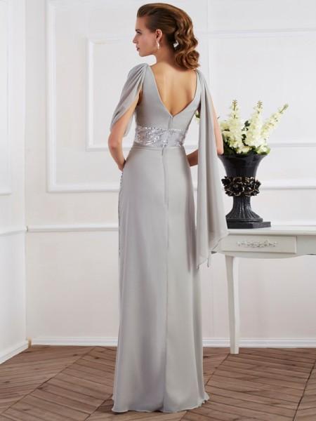 Sheath/Column Chiffon V-neck Floor-Length Lace Paillette Short Sleeves Dresses