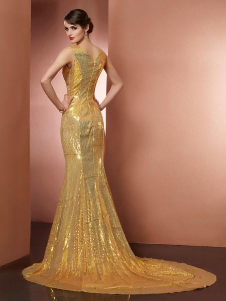 A-Line/Princess Satin V-neck Chapel Train Lace Paillette Sleeveless Dresses
