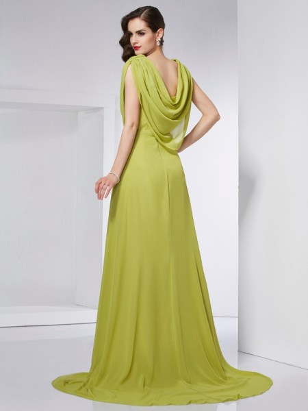 A-Line/Princess Chiffon High Neck Sweep/Brush Train Pleats Sleeveless Dresses