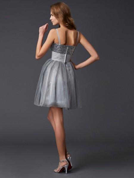 A-Line/Princess Organza Spaghetti Straps Short/Mini Sleeveless Cocktail Dresses