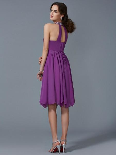 A-Line/Princess Chiffon Halter Knee-Length Beading Sleeveless Formal Dresses