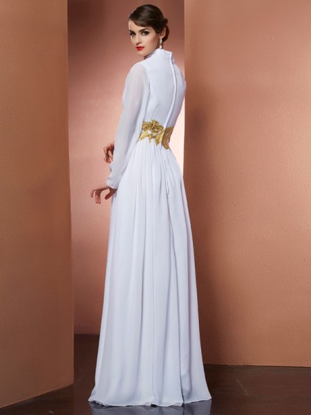 A-Line/Princess Chiffon V-neck Floor-Length Long Sleeves Dresses