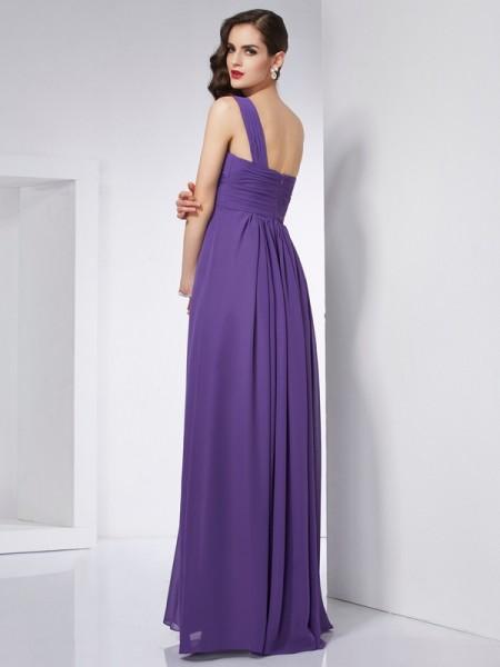A-Line/Princess Chiffon One-Shoulder Floor-Length Pleats Sleeveless Dresses