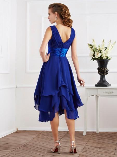 A-Line/Princess Chiffon V-neck Tea-Length Pleats Short Sleeves Bridesmaid Dresses