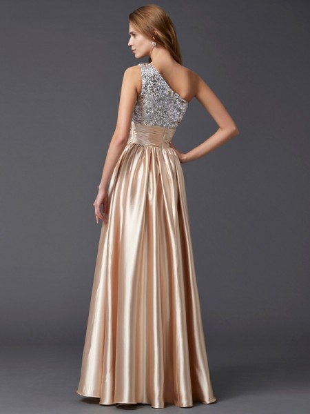 A-Line/Princess Elastic Woven Satin One-Shoulder Floor-Length Paillette Sleeveless Dresses