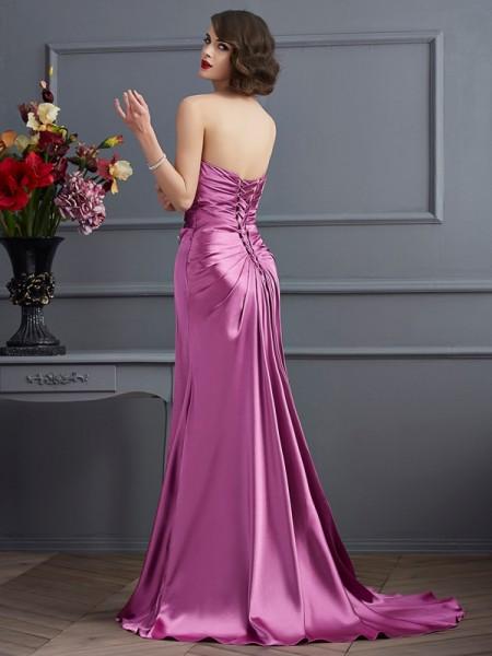 Sheath/Column Elastic Woven Satin Sweetheart Sweep/Brush Train Beading Sleeveless Dresses