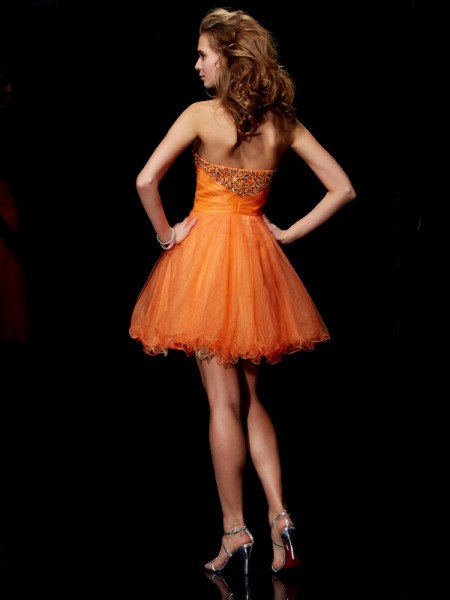 A-Line/Princess Organza Satin Strapless Short/Mini Beading Sleeveless Cocktail Dresses
