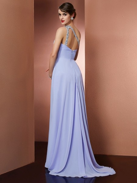 A-Line/Princess Chiffon One-Shoulder Sweep/Brush Train Beading Applique Sleeveless Dresses