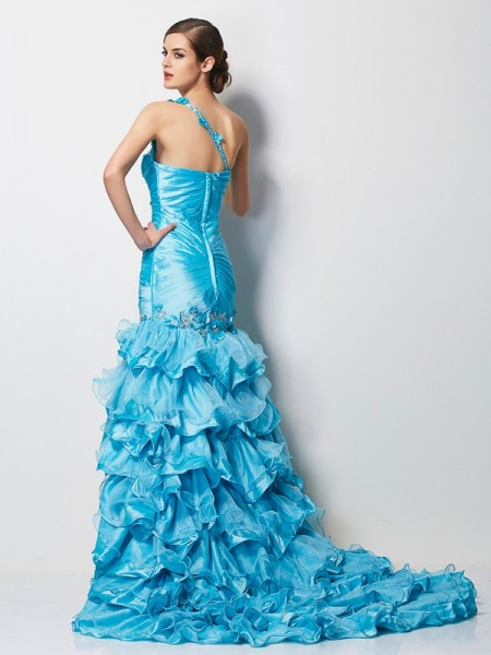 Trumpet/Mermaid Taffeta One-Shoulder Asymmetrical Beading Sleeveless Dresses