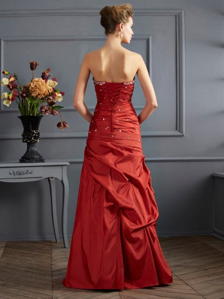 Trumpet/Mermaid Taffeta Sweetheart Floor-Length Beading Sleeveless Dresses