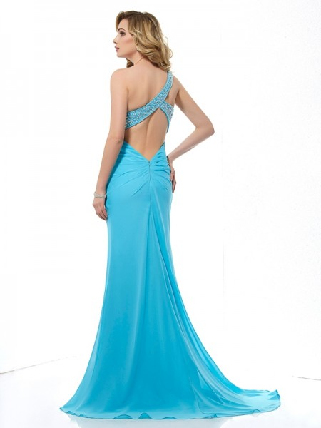 Trumpet/Mermaid Chiffon One-Shoulder Sweep/Brush Train Beading Sleeveless Dresses