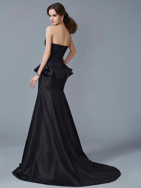 Trumpet/Mermaid Taffeta Strapless Sweep/Brush Train Ruffles Sleeveless Dresses