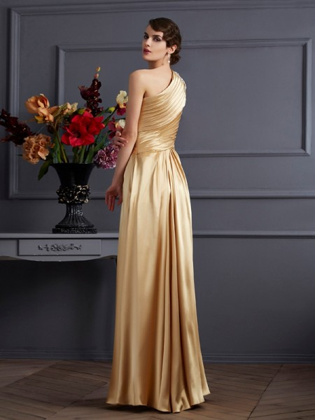 A-Line/Princess Elastic Woven Satin One-Shoulder Floor-Length Beading Sleeveless Dresses