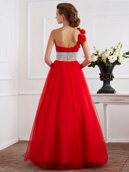 Ball Gown Net One-Shoulder Floor-Length Hand-Made Flower Beading Sleeveless Dresses