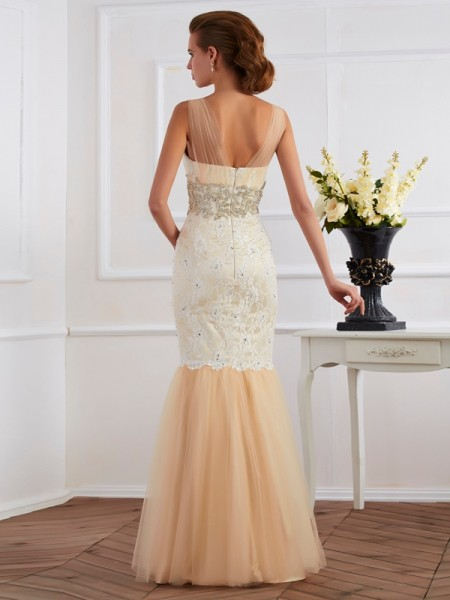 Trumpet/Mermaid Net Lace Straps Floor-Length Beading Sleeveless Dresses