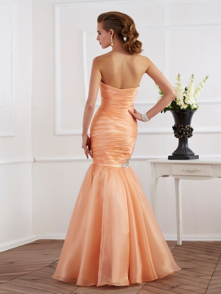 Trumpet/Mermaid Tulle Strapless Floor-Length Beading Sleeveless Dresses