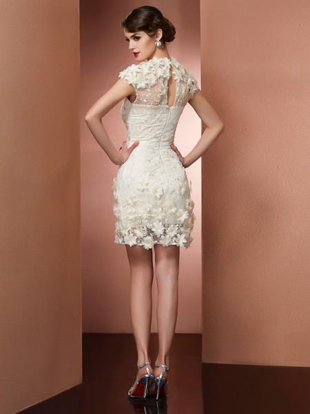 Sheath/Column Satin Lace High Neck Short/Mini Short Sleeves Cocktail Dresses
