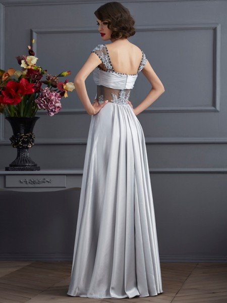 A-Line/Princess Elastic Woven Satin Off-the-Shoulder Floor-Length Pleats Sleeveless Dresses