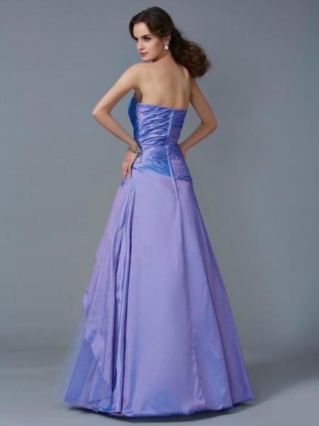 Trumpet/Mermaid Taffeta Strapless Floor-Length Beading Sleeveless Dresses