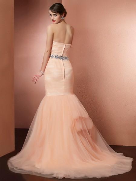 Trumpet/Mermaid Net Strapless Sweep/Brush Train Beading Sleeveless Dresses