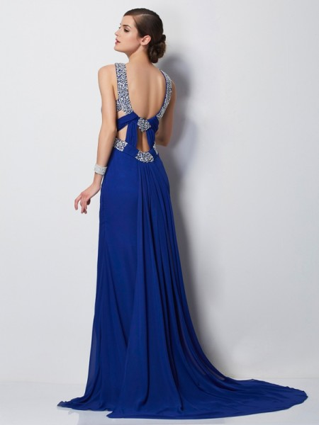 Sheath/Column Chiffon High Neck Sweep/Brush Train Beading Sleeveless Dresses