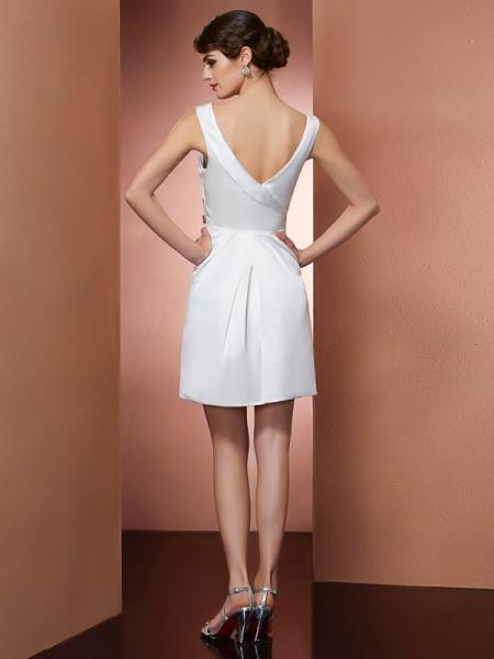 A-Line/Princess Satin Straps Short/Mini Beading Sleeveless Dresses