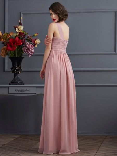 Sheath/Column Chiffon One-Shoulder Floor-Length Pleats Sleeveless Bridesmaid Dresses