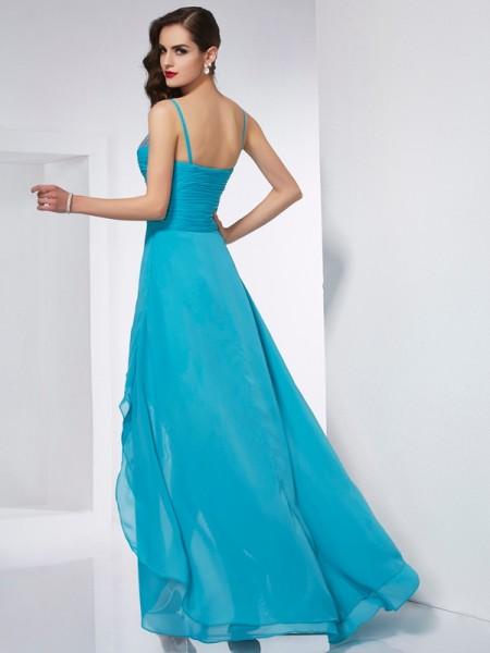 A-Line/Princess Chiffon Spaghetti Straps Asymmetrical Sleeveless Dresses