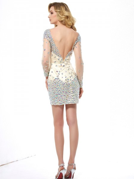 Sheath/Column Elastic Woven Satin Net Scoop Short/Mini Long Sleeves Cocktail Dresses