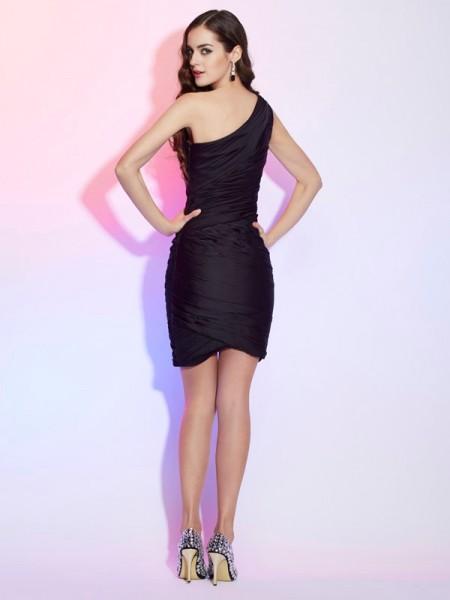 Sheath/Column Chiffon One-Shoulder Short/Mini Pleats Sleeveless Cocktail Dresses