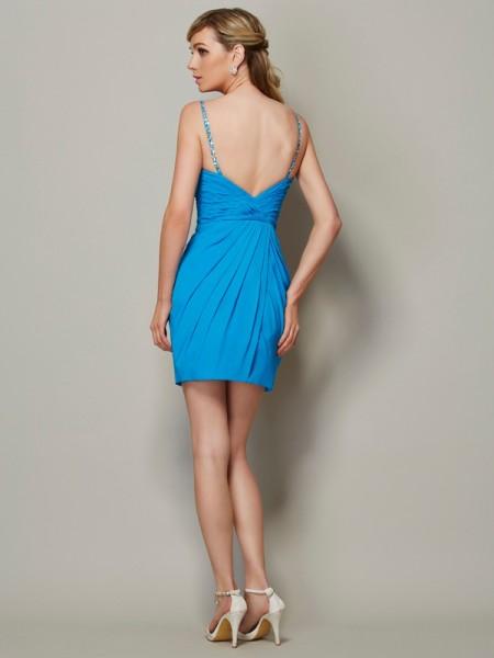 Sheath/Column Chiffon Spaghetti Straps Short/Mini Beading Sleeveless Cocktail Dresses