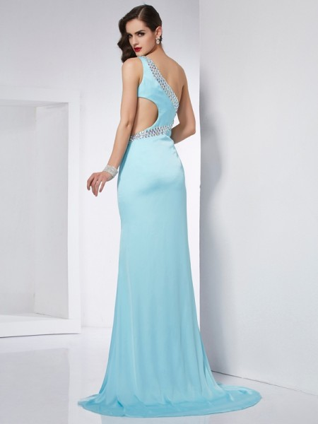 Trumpet/Mermaid One-Shoulder Sleeveless Sweep/Brush Train Light Sky Blue Dresses
