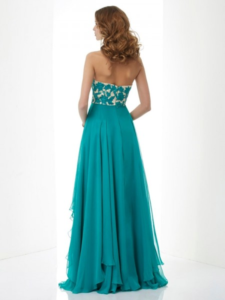 A-Line/Princess Sweetheart Sleeveless Floor-Length Green Dresses