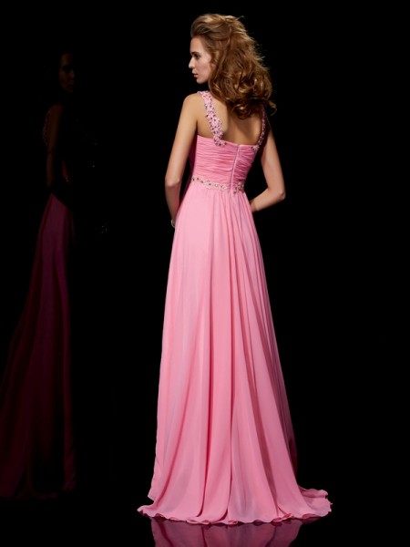 A-Line/Princess Straps Sleeveless Sweep/Brush Train Pink Dresses