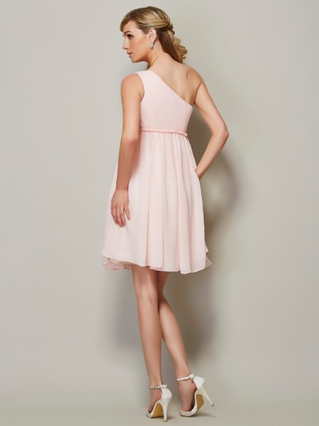 A-Line/Princess One-Shoulder Sleeveless Knee-Length Pink Bridesmaid Dresses