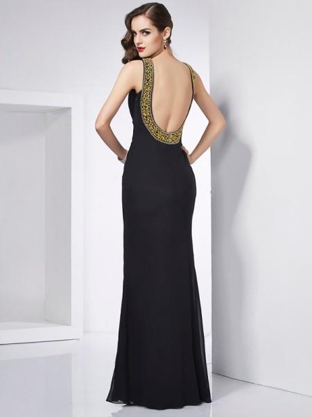 Trumpet/Mermaid Jewel Sleeveless Floor-Length Black Dresses