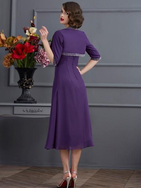 A-Line/Princess Spaghetti Straps Sleeveless Tea-Length Regency Dresses
