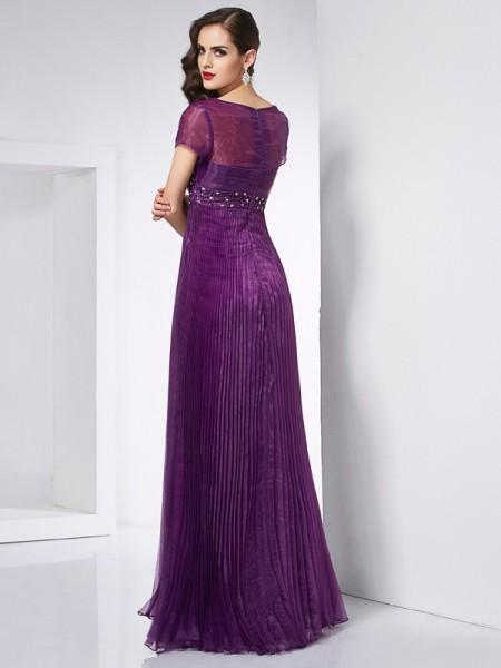 A-Line/Princess V-neck Short Sleeves Floor-Length Regency Dresses