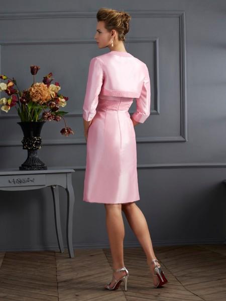 Sheath/Column Strapless Sleeveless Knee-Length Pink Dresses