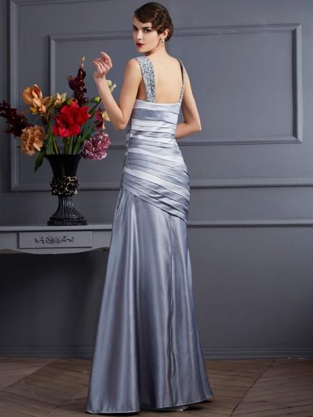 Trumpet/Mermaid Straps Sleeveless Floor-Length Silver Dresses